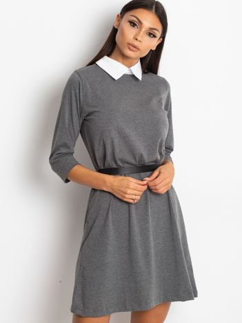39d50a6aa3 Bawełniana sukienka z kołnierzykiem ciemnoszara