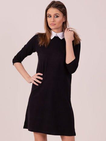 Bawełniana sukienka z kołnierzykiem czarna