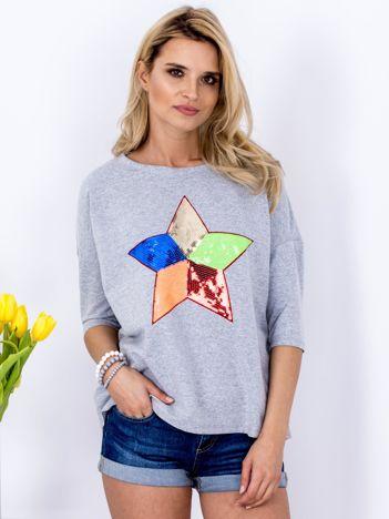 Bawełniana szara bluzka oversize z cekinową gwiazdą