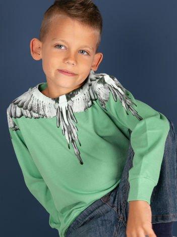 Bawełniana zielona bluza dla chłopca z nadrukiem skrzydeł