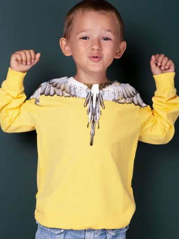 Bawełniana żółta bluza dziecięca z nadrukiem skrzydeł