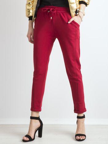 Bawełniane dresowe spodnie bordowe