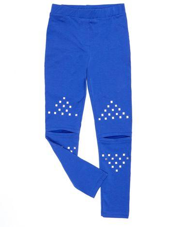 Bawełniane niebieskie legginsy dziewczęce z wycięciami na kolanach