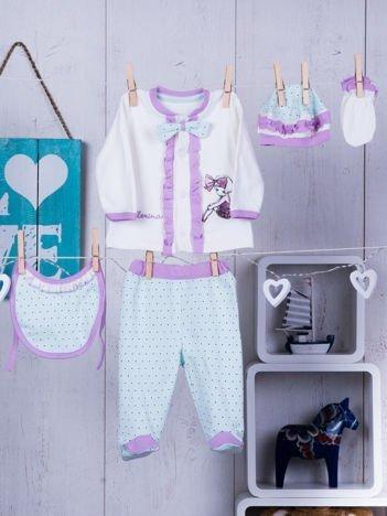 Bawełniany komplet niemowlęcy dla dziewczynki ecru-miętowy