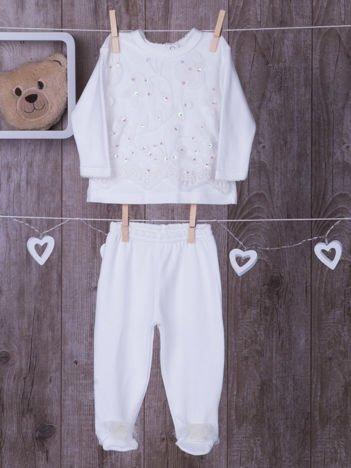 Bawełniany komplet niemowlęcy z cekinami i haftem ecru