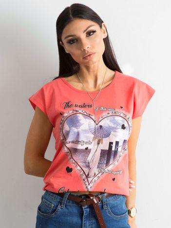 Bawełniany t-shirt damski z nadrukiem koralowy