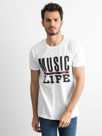 Bawełniany t-shirt męski z nadrukiem biały