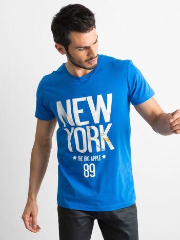 Bawełniany t-shirt męski z printem niebieski