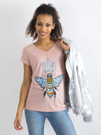 Bawełniany t-shirt z nadrukiem jasnoróżowy