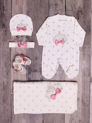 Bawełniany zestaw niemowlęcy 4-elementowy z nadrukiem koron i dżetami ecru