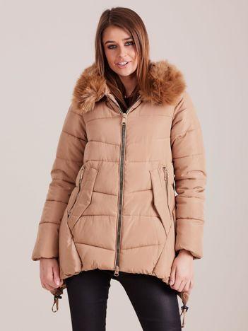 Beżowa asymetryczna kurtka zimowa