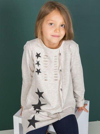 Beżowa asymetryczna tunika dziewczęca z gwiazdkami