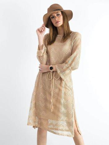 Beżowa ażurowa sukienka damska