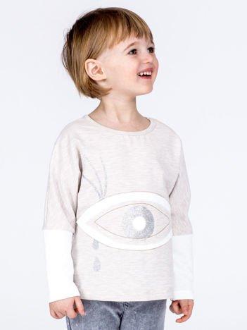 Beżowa bawełniana bluza dziewczęca z okiem i pikowaniem