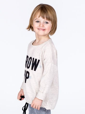 Beżowa bawełniana bluzka dziewczęca GROW UP ze ściągaczem