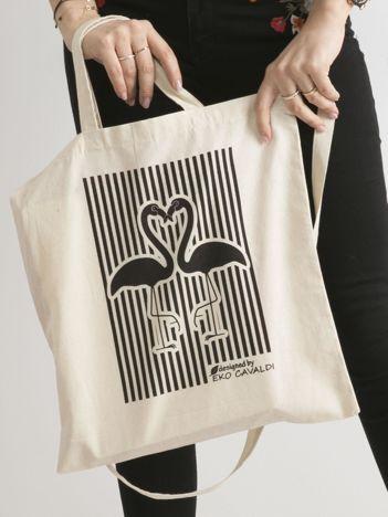 Beżowa bawełniana torba z nadrukiem flaminów