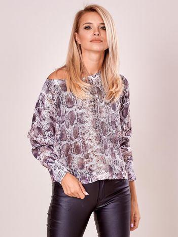 Beżowa bluzka oversize z motywem zwierzęcym