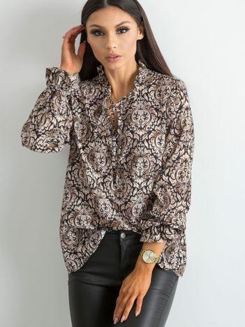 Beżowa bluzka w ornamentowe wzory