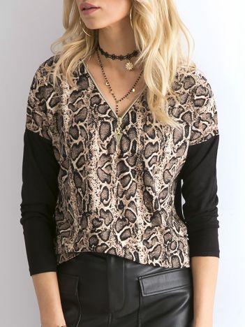 Beżowa bluzka w zwierzęce wzory