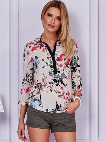 Beżowa bluzka z motywem floral print