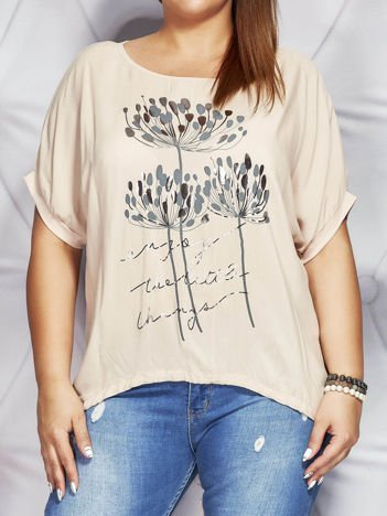 Beżowa bluzka z motywem roślinnym PLUS SIZE