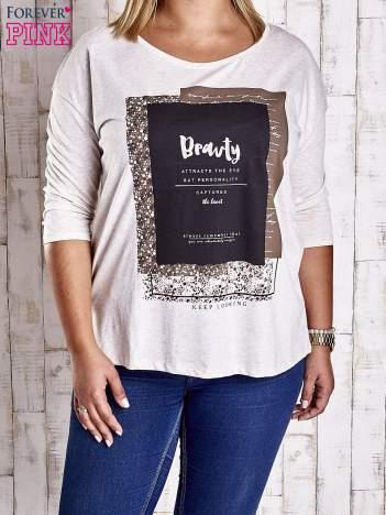 Beżowa bluzka z napisem BEAUTY PLUS SIZE