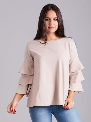 Beżowa bluzka z ozdobnymi rękawami