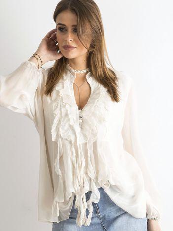 Beżowa bluzka z żabotem