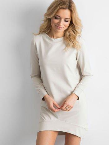 Beżowa dresowa tunika basic
