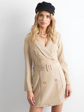Beżowa dwurzędowa sukienka