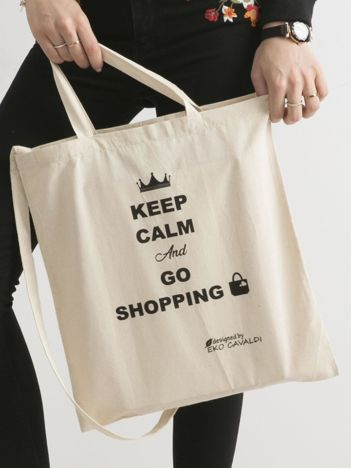 Beżowa eko torba z napisem KEEP CALM AND GO SHOPPING