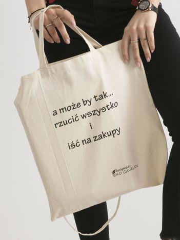 Beżowa ekologiczna torba z napisem