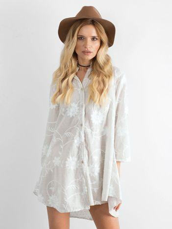 Beżowa haftowana sukienka