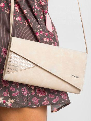 Beżowa kopertówka z asymetryczną klapką