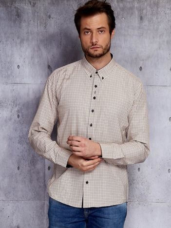 Beżowa koszula męska w drobną kratę PLUS SIZE