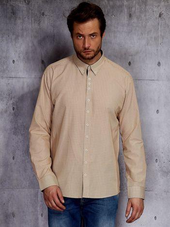 Beżowa koszula męska w drobną kratkę