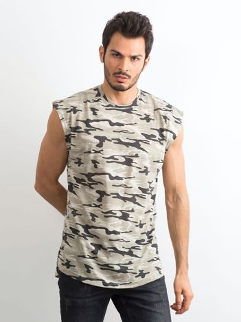 Beżowa koszulka męska z nadrukiem moro