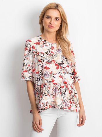 Beżowa kwiatowa bluzka z falbaną