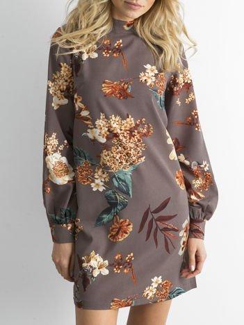 Beżowa kwiatowa sukienka z długim rękawem