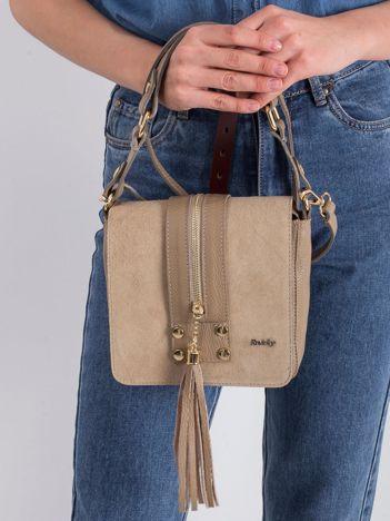 Beżowa mała torebka skórzana