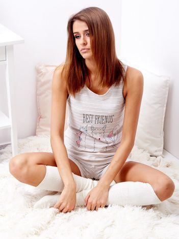 Beżowa piżama z szortami w paski