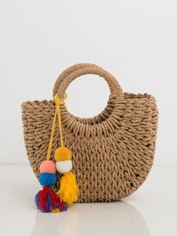 Beżowa pleciona torebka do ręki