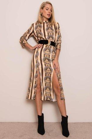 Beżowa sukienka we wzory BSL