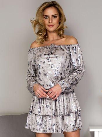 Beżowa sukienka z połyskiem we wzór panterki