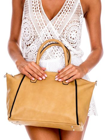 Beżowa torba shopper bag z ozdobnymi suwakami