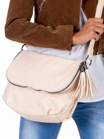 Beżowa torba z ekoskóry z frędzlami