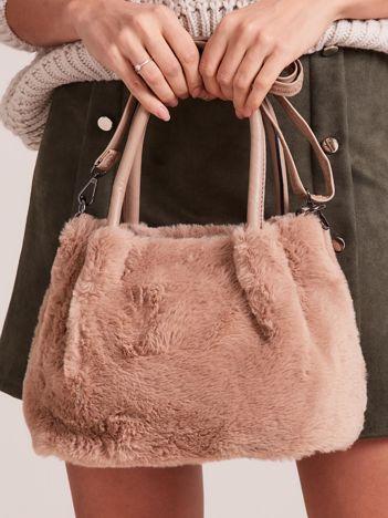 Beżowa torebka ze sztucznego futerka