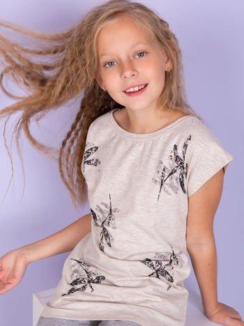 Beżowa tunika dziewczęca z nadrukiem ważek i diamencikami