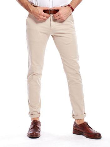 Beżowe bawełniane spodnie męskie chinosy