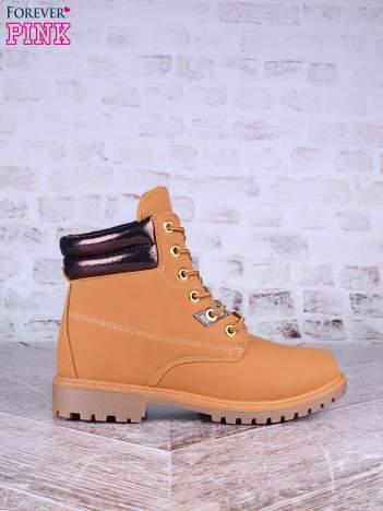 Beżowe buty trekkingowe damskie traperki ocieplane z pikowaną cholewką z efektem giltter